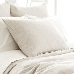 Pine Cone Hill - PCH Pinstripe Linen Dove Gray Pillow Sham - Pinstripe offers contemporary bedding a layer of sophistication in neutral dove gray. This beautifully textured pillow sham is created with the quality craftsmanship for which PCH is known. Available in standard and euro; 100% linen; Tie closure; Designed by Pine Cone Hill, an Annie Selke company; Machine wash