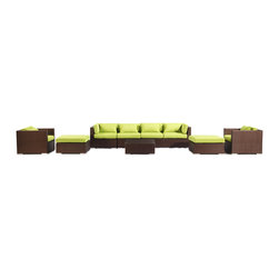 "Kardiel - Modify-It Modern Patio Furniture Sofa Outdoor Kauai 9pc Set, Espresso Lime Green - Introducing Kauai the 9-piece full size outdoor entertaining suite. Gather in comfort and modern style. A substantial Grande' length 4-seat sofa forms the centerpiece of the set. 2 generously sized ottomans transform the 2 armchairs into lounges. A matching coffee table placed in the center connects all elements of the classic modern style.  The flexible nature of Modify-It modular allows for customized reconfiguring of the layout at will. The design origins are Clean European. The elements of comfort are inspired by the relaxed style of the Hawaiian Islands. The Aloha series comes in many configurations, but all feature a minimalist frame and thick, ample modern cube cushions. The back cushions are consistent in shape, not tapered in to create the lean back angle. Rather the frame itself is specifically ""lean tapered"" allowing for a full cushion, thus a more comfortable lounging experience. The cushion stitch style utilizes smooth and clean hand tailoring, without extruding edge piping. The generously proportioned frame is hand-woven of colorfast, PE Resin wicker. The fabric is Season-Smart 100% Outdoor Polyester and resists mildew, fading and staining. The ability to modify configurations may tempt you to move the pieces around... a lot. No worries, Modify-It is manufactured with a strong but lightweight, rust proof Aluminum frame for easy handling."