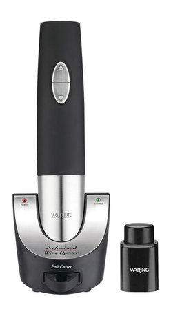 Waring Pro - Waring Pro Professional Rechargeable Cordless Wine Opener with Vacuum Sealer - If you're exhausted from fighting with your corkscrew, it's time to upgrade to this cordless wine opener. A convenient foil cutter is included, and the NiMH battery pack and rechargeable base unit provide enough power to uncork 80 bottles without recharging. The vacuum sealer preserves the wine you don't finish.
