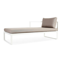Harbour Outdoor - Clovelly Chaise (L/R) - Simple, modern, and fun, the Clovelly Chaise by Harbour Outdoor takes styles and designs previously only possible in indoor furniture, and adds specifically made outdoor durable materials to them to bring the sophistication and class of your indoors to your pool or deck. The scratch and UV proof powder coated aluminum frame boasts curved connected legs for a playful, breezy look while the QuickDryFoam and Sunbrella fabric cushions ensure comfort and a sophisticated, modern flair. 100% maintenance free, the only thing youll have to think about while relaxing in this modern chaise lounge is what outfit to wear while lying in it.