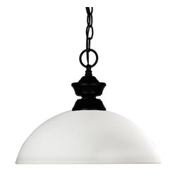 One Light Matte Black Matte Opal Glass Down Pendant - This matte black styled pendant is equally at home in the games room as well as anywhere else needing a clean, contemporary touch. Paired sleekly with a dome mottle opal glass shade, this pendant will be a great addition to any room in the house.