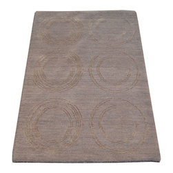 1800-Get-A-Rug - Modern Nepali Gray Hand Knotted Rug Natural Dyes Wool and Silk Sh7429 - About Modern & Contemporary
