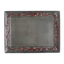 "Old Dutch International - ""Art Nouveau"" Rectangular Tray - With its swirled symmetrical design, this delightful metal tray harkens back to the Art Nouveau period. However you use it — to serve special guests, perhaps, or display cherished objects — it adds a touch of refinement to your home."
