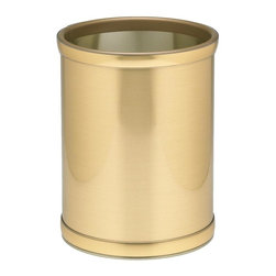 Kraftware - Mylar 10 in. Round Wastebasket in Brushed Brass - Made in USA. 10 in. Dia. x 12 in. H (1.5 lbs.)Kraftware's Mylars bring the look of metal at vinyl prices. Great value, great looks and great entertaining sum up the Mylar collection.