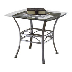 Hillsdale Furniture - Hillsdale Abington Square 26x26 End Table - Hillsdale's subtly sophisticated Abington occasional collection is created by a combination of a muted pewter finish, elegant scrollwork, and gracefully curved legs. Complete with a glass topped end table, console table and coffee table, you can accent your entire living room, den or foyer with this lovely ensemble. Though the Abington occasional is fabulous as a collection each individual-piece is strong enough to stand alone.