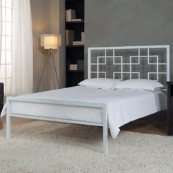 Interlocking Squares White Platform Bed - The Interlocking Squares White Bed makes a strong statement in any room you decide to put it. Whether it be your room, the kid's room, or the guest room, this bed in a white powder-coat finish is sure to allow for a restful night's sleep, night after night. Boasting an interlocking square pattern, a support mattrix grid system, and sturdy steel tube construction, this bed was designed to last and please for years to come. Mattress not included. Choose from several size options..About DwellCreating products that celebrate modern decor as well as modern living, Dwell likes to think of themselves as nice modernists in terms of product quality and craftsmanship offered at an affordable price. This helps brings life to decors of all types, and celebrate all modern designs individually. Dwell's main goal is to provide products that help pull a room together and accentuate each the style of any home.
