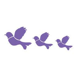 My Wonderful Walls - Flying Bird Trio Stencil for Painting - Flying bird trio wall stencil