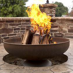"Ohio Flame - 30"" Patriot Fire Pit - Natural Steel Finish - The Patriot Fire Pit by Ohio Flame combines sleek and modern styling with tough American quality and durability. With no parts to break or wear out over time,-�this Fire Pit is built to last a lifetime. ""The Patriot"" is crafted from 3/16"" thick high carbon American steel sourced from local steel mills. No maintenance is required for this Fire Pit, as it's designed to withstand the elements year-round. ""The Patriot"" features a 3/8"" Rain Drain to allow for water drainage. The ""Natural Steel Finish"", will develop a natural iron oxide patina and gradually darken over time. 100% Made in America-�and crafted by a local artisan. 3/16"" Thick American Steel; Natural Steel Finish, will develop a natural iron oxide patina over time; 3/8"" Rain Drain Dimensions: Height: 14.5""; Width: 30"" Diameter; Depth: 30"" Diameter"