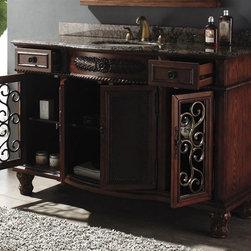 James Martin Furniture - 53 in. Single Bathroom Vanity in Baltic Brown - Faucet not included. Natural granite top finished and sealed to prevent stains and water marks. Four doors and two drawers. Under mount porcelain sink. Hand carved and painted. Multi layer 12 step hand glaze finish to prevent pealing, cracking, fading. Drawers are on metal glides. Intricate metal work on outer doors. Center doors have a faux leather treatment. Made from solid birch grade a wood. 53 in. W x 22 in. D x 36.5 in. H