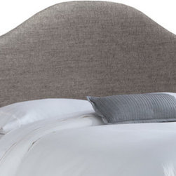 """Skyline Furniture - Fabric Upholstered Headboard - This classic arched headboard adds fashion and comfort to your bedroom with its trendy metallic upholstery. The headboard has a solid wood frame, adjustable steel legs, and polyester fill foam padding. Attaches to any standard bed frame. Features: -Color: Groupie Pewter. -Solid pine frame. -Metal legs. -Polyester fill foam. -Handmade. -Spot clean only. -1 Year limited warranty, excludes fabric. -Made in the USA. Dimensions: -Twin: 54"""" H x 41"""" W x 4"""" D, 24 lbs. -Full: 54"""" H x 56"""" W x 4"""" D, 31 lbs. -Queen: 54"""" H x 62"""" W x 4"""" D, 33 lbs. -King: 54"""" H x 78"""" W x 4"""" D, 45 lbs. -California King: 54"""" H x 74"""" W x 4"""" D, 40 lbs."""