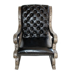 Badia Design Inc. - Designer Moroccan Black Leather Chair - This is a unique handmade leather chair with a metal and wood frame that will seat one person very comfortably. This exquisite and contemporary style leather chair was handcrafted by our skilled artisans in Morocco.