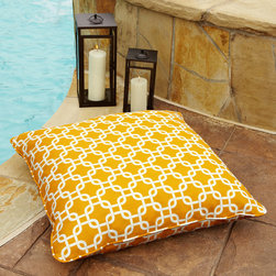 None - Penelope Yellow 28-inch Square Indoor/ Outdoor Floor Pillow - Fun interlocking squares decorate this white and yellow square floor pillow with matching cording. Made from polyester that is resistant to stains and fading,this large comfortable pillow is perfect for any outdoor pool deck or patio.