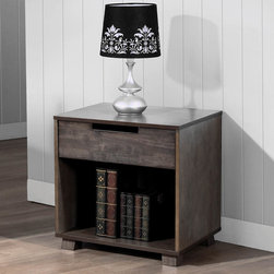 None - Kiley 1-drawer Nightstand - Add a contemporary touch to your living space with this Kiley one-drawer nightstand. A lovely tobacco finish highlights this wooden nightstand.