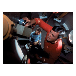 Oriental Furniture - Star Trek Scotty and Bones Wall Art - Unique, intriguing, collector's quality image from the original 1960's Star Trek series, with James Doohan as Scotty and DeForest Kelley as Dr. McCoy performing repairs on the Starship Enterprise. Authentic, authorized, limited edition canvas wall art print, ideal gift for both Star Trek fans and aficionados and ready to hang right from the box.