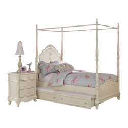 Homelegance - Homelegance Cinderella 5 Piece Canopy Poster Bedroom Set in Antique White - The Cinderella Collection is your little girl's dream. The Victorian styling incorporates floral motif hardware, antique ecru finish and traditional carving details that will create the feeling of a room worth of a fairy tale princess. A canopy bed completes the fantasy of this whimsical collection. Turned posts reach for the heights and are topped with carved finials. The additional trundle provides the extra sleeping space for princesses visiting from other kingdoms. Also available in dark cherry finish.