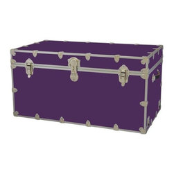 Rhino - Toy Trunk - Purple (Jumbo) - Choose Size: JumboWheels are not included. Includes two nickel plated steel universal wheel adapter plates. Wheel adapter plates mounted on side of the trunk. American craftsmanship. Several obscure ventilation holes to provide plenty of air should your child ever go into the trunk and have someone close it on them. Strong hand-crafted construction using both old world trunk making skills and advanced aviation rivet technology. Steel aircraft rivets are used to ensure durability. Heavy duty proprietary nickel plated steel latches and hardware. Heavy duty nickel plated steel lid hinges plus lid stays for keeping lid propped open. Tight fitting steel tongue and groove lid to base closure to keep out moisture, dirt, insects, odors etc.. Stylish lockable nickel plated steel trunk lock has loop for attaching padlock. Discrete ventilation holes. Special soft-close lid stay. Nylon cordura exterior laminate. Lifetime warranty. Made from 0.38 in. premium grade baltic birch hardwood plywood with nickel-plated steel hardware. Large: 32 in. W x 18 in. D x 14 in. H (29 lbs.). Extra large: 36 in. W x 18 in. D x 18 in. H (36 lbs.). Jumbo: 40 in. W x 22 in. D x 20 in. H (67 lbs.). Super jumbo: 44 in. W x 24 in. D x 22 in. H (69 lbs.)Safety First! A superior quality, heavy-duty toy trunk that¢s designed for a child¢s well-being, yet looks handsome in any room. Toy Trunk is constructed from the highest quality components. This treasure chest incorporates several safety features to insure that it¢s child friendly. Those include small ventilation holes should a child ever decide to climb in and take a nap, as well as specially designed, American made soft-close lid stays. The lid stays keep the lid from slamming shut. In fact, the lid will only close if you push it down. This will keep small hands protected. Also, the toy trunk will not lock on its own. Toy Trunk are conveniently sized and ruggedly built. They¢re strong enough to stand on! Best of all, these advanced design wheels do not add any extra height to the trunk. Even with the wheels on, the trunk is stackable.