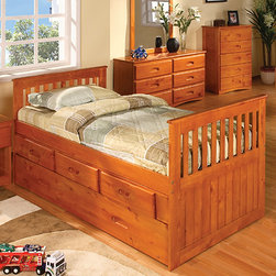 "Discovery World Furniture - Weston Twin Slat Bed - Features: -Twin bed.-Complete slat kit makes bed mattress-ready.-Bed features european roller glide drawers.-For bed, no foundation required.-Solid pine construction.-Please note: Trundle and/or storage drawer configuration can be featured on either side of the captain's bed.-Please note: The opposite side of captain's bed without trundle and/or storage drawer configuration is open.-Collection: Weston.-Distressed: No.-Powder Coated Finish: No.-Gloss Finish: Yes.-Non Toxic: Yes.-Scratch Resistant: No.-Joinery Type: Glued and doweled.-Mattress Included: No.-Fits Crib Mattress: No.-Recommended Mattress Height (Configuration: 3 Drawers + 1 Trundle Unit): Trundle 7"".-Mattress Profile Maximum (Configuration: 3 Drawers + 1 Trundle Unit): Trundle 7"".-Box Spring Required: No.-Number of Slats Required: 11.-Number of Slats Included: 11.-Center Support Legs: No.-Bed Rails: Yes.-Recommended Age Range: 3+.-Also Suitable for Adults: Yes.-Upholstered: No.-Wood Moldings: No.-Canopy Frame: No.-Lighted Headboard: No.-Light Type: No.-Adjustable Shelves: Yes.-Underbed Storage: Yes.-Thickness of Mattress Accommodated by Trundle: 7"".-Guardrails: No.-Hidden Storage: No.-Jewelry Compartment: No.-Attached Nightstand: No.-Media Outlet Hole: No.-Built in Outlets: No.-Finished Back: Yes.-Commercial Use: No.-Eco-Friendly: Yes.Specifications: -Meets all ASTM and CPSC specifications.-CARB Compliant: Yes.-JPMA Certified: No.-General Conformity Certificate: Yes.Dimensions: -Overall Height - Top to Bottom: 37"".-Overall Width - Side to Side: 42"".-Overall Depth - Front to Back: 77"".-Headboard Height Top to Bottom: 37"".-Headboard Width Side to Side: 42"".-Headboard Depth Front to Back: 1"".-Footboard Height: 37"".-Footboard Width - Side to Side: 42"".-Footboard Depth - Front to Back: 1"".-Interior Drawer Height Top to Bottom: 4.75"".-Interior Drawer Width Side to Side: 18"".-Interior Drawer Depth Front to Back: 15"".-Trundle Height: 11"".-Trundle Width - Side to Side: 40"".-Trundle Depth - Front to Back: 74"".-Top of Headboard to Bedframe: 14"".-Side Rail Length: 75"".-Overall Product Weight (Configuration: 6 Drawers - 2 rows of 3): 116 lbs.-Overall Product Weight (Configuration: 3 Drawers + 1 Trundle Unit): 138 lbs.Assembly: -Assembly required.-Tools Needed: Tool included.-Additional Parts Required: No.Warranty: -Discovery world furniture provides one year limited warranty."