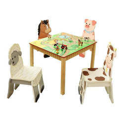 Fantasy Fields - Fantasy Fields Happy Farm Table and Chair Set Multicolor - TD-11324S4 - Shop for Childrens Table and Chair Sets from Hayneedle.com! Kids will love to get creative with some farm fun with the Teamson Design Happy Farm Table and Chair Set. This set includes four kid-sized chairs and a square table. Each piece features brightly colored farm themed finishes all non-toxic and hand-painted. Chairs feature happy farm animals while the table offers a farmland scene complete with a barn. Perfect for games snack time reading or art. Designed for kids 3 years and older.About Teamson DesignBased in Edgewood N.Y. Teamson Design Corporation is a wholesale gift and furniture company that specializes in handmade and hand-painted kid-themed furniture collections and occasional home accents. In business since 1997 Teamson continues to inspire homes with creative and colorful furniture.
