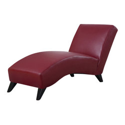 Global Furniture USA - R1999R Red Polyurethane Lounge Chaise Chair - The R1999R chaise lounge is a contemporary update to the classic lounger with a modern look for any decor. This chaise comes fully wrapped in a beautiful red polyurethane material. High density foam is placed within for added comfort. Curved for comfort and style, this chaise lounge has an armless design with tapered wooden legs. The price shown includes the chaise chair only.