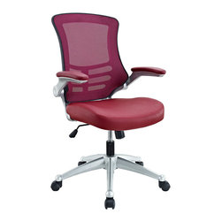 "Modway - Attainment Office Chair in Burgundy - Taking you where you need when you need it most. The Attainment Office Chair is a form-fitting ergonomic chair made from the most revolutionary advances in seating today. The breathable mesh back is curved to assist back and shoulder posture, while the lower frame provides exemplary lumbar support. With flip up arms, and a waterfall padded leatherette seat, enjoy your work from a place of comprehensive comfort. Set Includes: One - Clutch Office Chair with Black Mesh Back and Black Leatherette Seat. Breathable black mesh back; Sponge seat covered with black leatherette; Flip-up padded arms; Seat tilt with tension control; Adjustable Seat Height; Dual-Wheel Casters; Overall Product Dimensions: 28.5""L x 26.5""W x 39.5 - 43.5""H; Armrest Height: 27 - 31""H; Seat Height: 20 - 24""H; Back Height: 22.5""H."