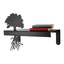 Inova Team -Modern Carbon Steel Exclusive Shelf - A great book takes root and stays with us as we walk through life. Celebrate the works that have shaped you with this sleek shelf, perfect for displaying treasured hardcovers and inspired trinkets. Cut from steel and then welded, this silhouetted design is finished in hammered black, creating the shadowy look of a tree in a dark forest. Made in Kentucky.