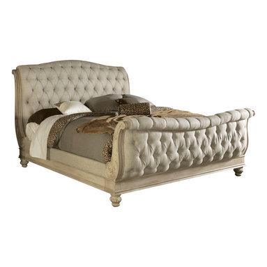 American Drew - American Drew Jessica McClintock Boutique Sleigh Bed in White Veil - Queen - Sleigh Bed in White Veil belongs to Jessica McClintock Boutique collection by American Drew