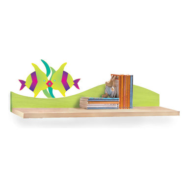 Tropical Seas Wall Shelf - Two kissing fish float on the wave of this Tropical Sea theme birch veneer wall shelf. Ideal for hanging over the desk or changing table/dresser.