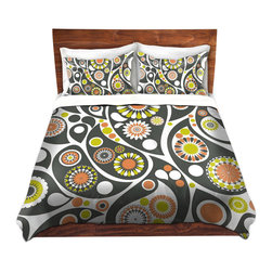 DiaNoche Designs - Duvet Cover Microfiber by Organic Saturation - Retro Paisley - Super lightweight and extremely soft Premium Microfiber Duvet Cover in sizes Twin, Queen, King.  This duvet is designed to wash upon arrival for maximum softness.   Each duvet starts by looming the fabric and cutting to the size ordered.  The Image is printed and your Duvet Cover is meticulously sewn together with ties in each corner and a hidden zip closure.  All in the USA!!  Poly top with a Cotton Poly underside.  Dye Sublimation printing permanently adheres the ink to the material for long life and durability. Printed top, cream colored bottom, Machine Washable, Product may vary slightly from image.