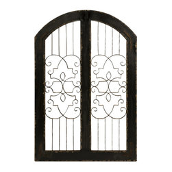 iMax - iMax Amelia Iron and Wood Gate X-76374 - The Amelia iron and wood gate adds a Southern or English look to any indoor or outdoor area. Use indoors against a wall to add class to any space!