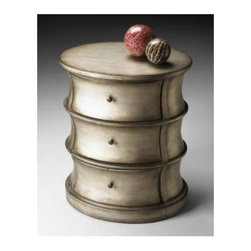 Butler - Oval Drum Table in Brushed Pewter with 3 Shaped - Hand painted finish on selected hardwoods and wood products