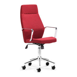 Zuo Modern - Holt High Back Office Chair Red - Geometrical in design, the Holt office chair has a sexy shape. It comes in two styles: red fabric and black or white PU.