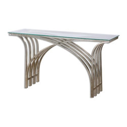 Uttermost - Uttermost - Kassia Console Table In Silver Leaf - 24446 - Nicoline Collection Console Table