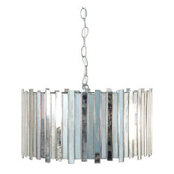 """Worlds Away Faceted Antique Mirror Pendant Light - 8"""" tall x 19"""" dia Antique mirror faceted drum pendant with single 60w socket. Comes with 3'  chrome chain and canopy."""