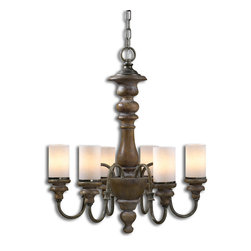 "Uttermost - Torreano 6 Light Wooden Chandelier - Heavily Distressed Solid Wood Turnings Finished In An Aged Pecan Stain With Burnished Taupe Arms And Glass Faux Candles. Number Of Lights: 6, Shade Size: Dia 3""x5""h, Voltage: 110, Wattage: 60w, Bulbs Included: No"
