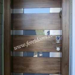 Modern front entry doors / contemporary front entry doors - Solid wood contemporary entry door with stainless steel plaques and glass