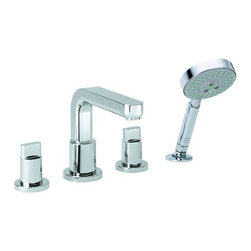 Hansgrohe - Roman Tub Filler w/ Diverter, Knob Handles, Hand Shower - Less Valve - Metris S Roman Tub Filler Faucet with Diverter, Metal Knob Handles and Multi Function Hand Shower Less ValveFull handlesSolid brassUp to 10 GPM @ 44 PSIIncludes Raindance S 100 AIR 3-Jet Hand shower, 2.5 GPMProtection against backflow provided by check valve