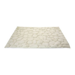 Pebbled Bath Mat - Bring a little bit of the outdoors in with this luxe nature-inspired bath mat. Its lush pile is trimmed into the shapes of water-worn pebbles, so it's super absorbent and feels great under your feet too.