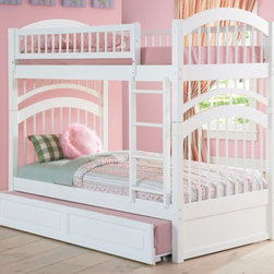Windsor Bunk bed in White by Atlantic Furniture - The Windsor Bunk Bed is the perfect mission-style bunk bed for your children's bedroom. Available in twin-over-twin construction with railings on the top bunk, the sturdy Windsor Bunk Bed is constructed of solid hardwood. Add optional under-bed storage drawers or an optional trundle unit to make the most of under-bed space.