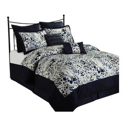 Splash 6-Piece Comforter Set, Navy Blue, California King - *Micro Fiber
