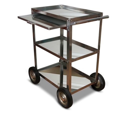 Industrial Chrome And Mirror Utility Cart - 32.5 h x 20 w x 29 l