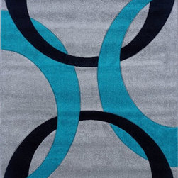 """Linon - Contemporary Corfu 8'x10'3"""" Rectangle Grey-Turquoise Area Rug - The Corfu area rug Collection offers an affordable assortment of Contemporary stylings. Corfu features a blend of natural Grey-Turquoise color. Machine Made of 100% Heat Set Frieze Yarn Pile the Corfu Collection is an intriguing compliment to any decor."""