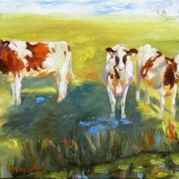 """Curious Cows"" (Original) By Chris Brandley - I Had The Privilege Of Living In Holland As A Child. One Of My Memories Is All The Cows Along The Canals. I Think They Are Curious Animals And They Intrigue Me And Make Me Smile!"
