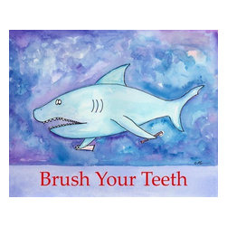 Oh How Cute Kids by Serena Bowman - Shark Teeth, Ready To Hang Canvas Kid's Wall Decor, 24 X 30 - I created this in hopes it would serve has reminders to my kids.  Make the bathroom a fun place and maybe just maybe the kiddies will actually go wash there hands and brush their teeth??  Here's to hoping!