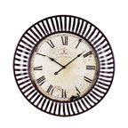 "IMAX - Banded Metal Wall Clock - This oversized wall clock with its banded iron framing makes a great statement in any room. Item Dimensions: (35""d)"
