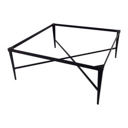 "Used Kreiss Montoro Square Patio Coffee Table - A Kreiss ""Montoro"" square patio table, in a matte black that's powder coated. This table has never been used and is in perfect condition, but will require a glass top.    Please note, the seller also has the matching Montoro patio bar chairs, a side table, a loveseat, and chaise loungers available. If you are interested in purchasing multiple pieces (or the set), please email: support@chairish.com."
