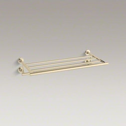 KOHLER - KOHLER Purist(R) hotelier - Purist accessories combine a sculptural form with the simple functionality of architectural style. This metal towel shelf provides a distinctive place to store and display bath towels. Available in an array of KOHLER finishes to compliment any bathroom decor.