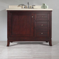 "OVE DECORS VALEGA 42"" BATHROOM VANITY ENSEMBLE - A real classic. The tobacco stained Valega 42 vanity features an engineered marble countertop, undermount ceramic basin and soft-closing hinges and glides. It also has an abundance of storage in its three drawers and useful storage cabinet that will make the Valega 42 your favorite piece!"