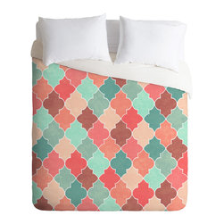 DENY Designs - Jacqueline Maldonado Morocco Pastel Duvet Cover - Turn your basic, boring down comforter into the super stylish focal point of your bedroom. Our Luxe Duvet is made from a heavy-weight luxurious woven polyester with a 50% cotton/50% polyester cream bottom. It also includes a hidden zipper with interior corner ties to secure your comforter. it's comfy, fade-resistant, and custom printed for each and every customer.