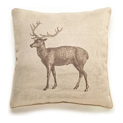 Lava - Deer Etching 18 x 18 Pillow (Indoor/Outdoor) - 100% polyester cover and fill. Suitable for use indoors or out. Made in USA. Spot clean only