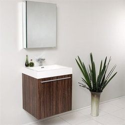 Fresca - Fresca Alto Walnut Modern Bathroom Vanity with Medicine Cabinet - Very handsome in its simplicity, this is a vanity that will move in, not stretch out and take up space, but will instead easily consolidate everything into two pieces. Life will be a less messy affair with this vanity installed. A wonderfully quietly designed piece, will invite everyone to come in and put outside troubles at the doorstep. Complete with a medicine cabinet that can be either wall mounted or recessed into the wall. Many faucet styles to choose from. Optional side cabinets are available. Features MDF/Veneer with Acrylic Countertop/Sink with Overflow Soft Closing Doors Single Hole Faucet Mount (Faucet Shown In Picture May No Longer Be Available So Please Check Compatible Faucet List) P-trap, Faucet/Pop-Up Drain and Installation Hardware Included How to handle your counter Installation GuideView Spec Sheet